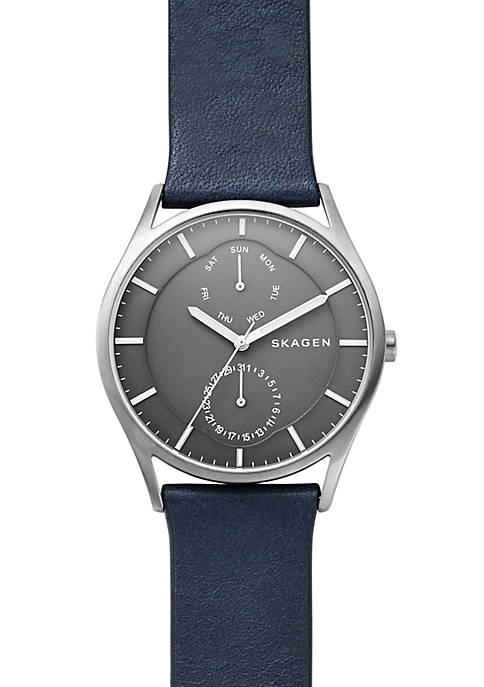 Skagen Mens Stainless Steel Holst Titanium and Leather
