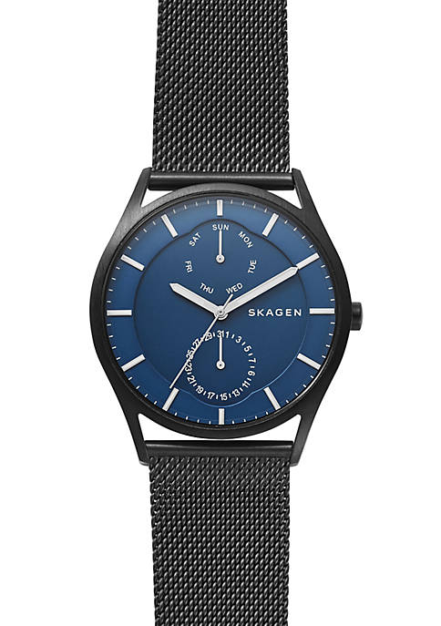 Skagen Mens Stainless Steel Holst Black Steel-Mesh Multi-function