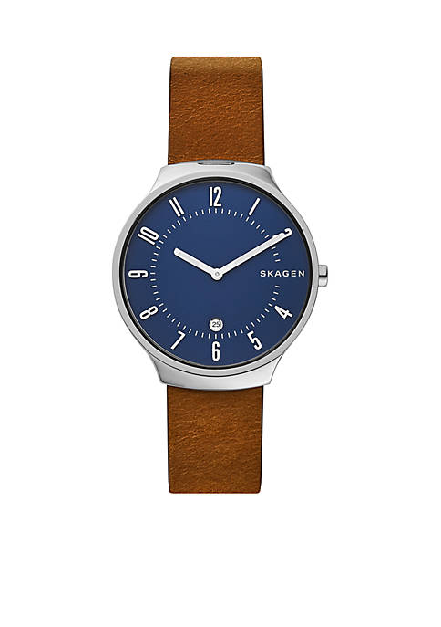American Coin Treasures Grenen Brown Leather Watch