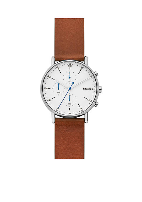 Skagen Signature Brown Leather Chronograph Watch