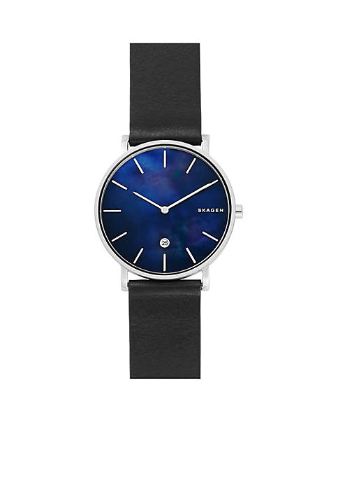 Skagen Mens Stainless Steel Hagen Slim Mother-of-Pearl Black