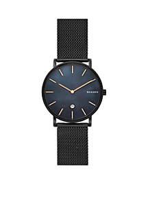 Men's Stainless Steel Hagen Mother-of-Pearl Black Steel-Mesh Watch