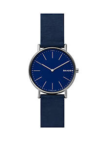 Signatur Leather Silver-Tone Watch