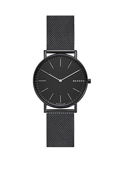 Skagen Signatur Slim Titanium and Black Steel-Mesh Watch