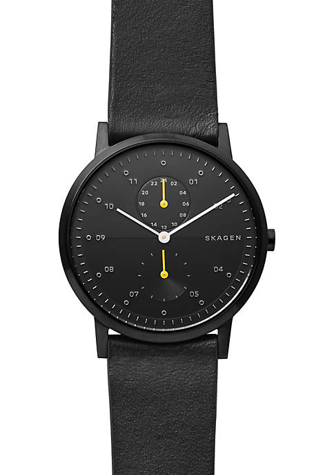 Skagen Stainless Steel Kristoffer Black Leather Watch