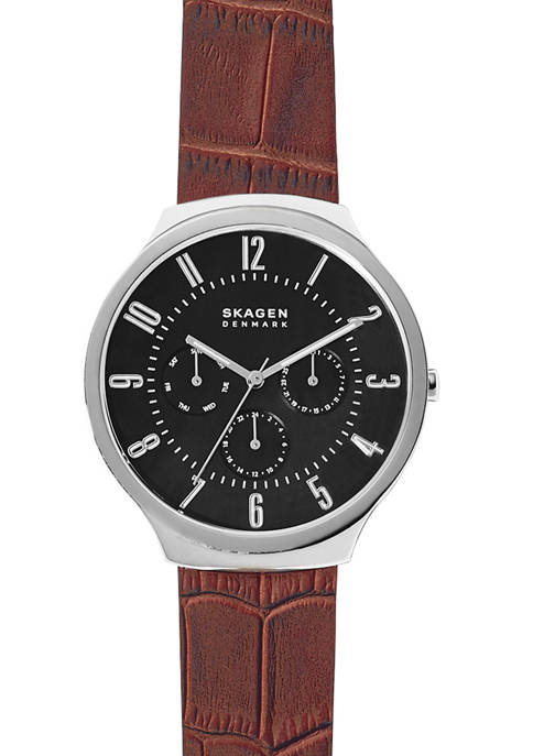 Mens Grenen Leather Multifunction Watch