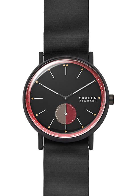 Skagen Mens Signatur Black Silicone Field Watch