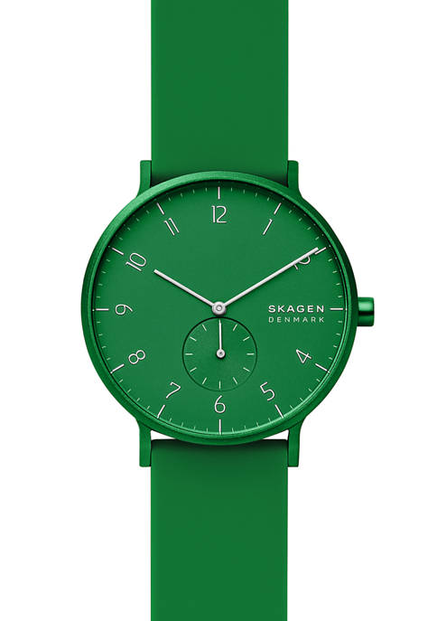 Mens 41 Millimeter Aaren Kulor Green Silicone Watch