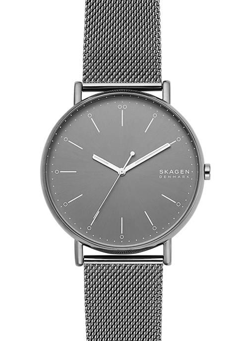 Signatur Gunmetal Steel-Mesh Watch