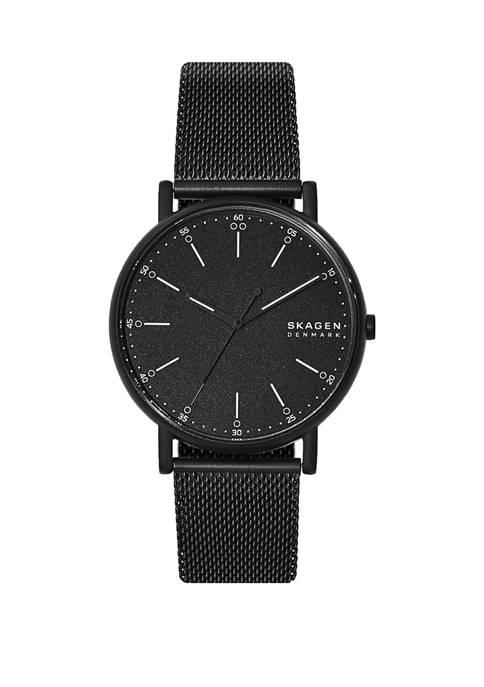 Signatur 3 Hand Black Steel Mesh Watch