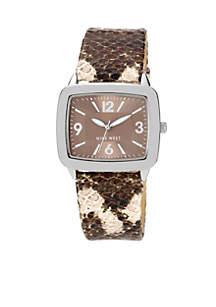 Silver Tone Modern Strap Watch