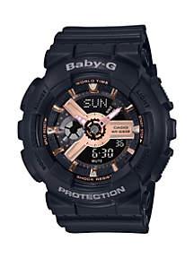 Analog-Digital Black Resin Strap Watch