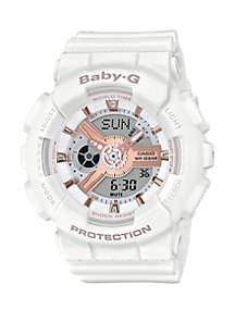 Analog-Digital White Resin Strap Watch