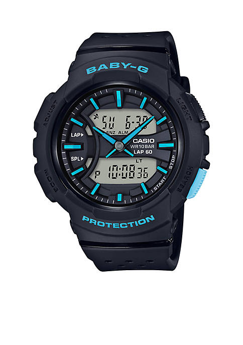 Baby-G Womens Black With Blue Accents Ana-Digi Sport