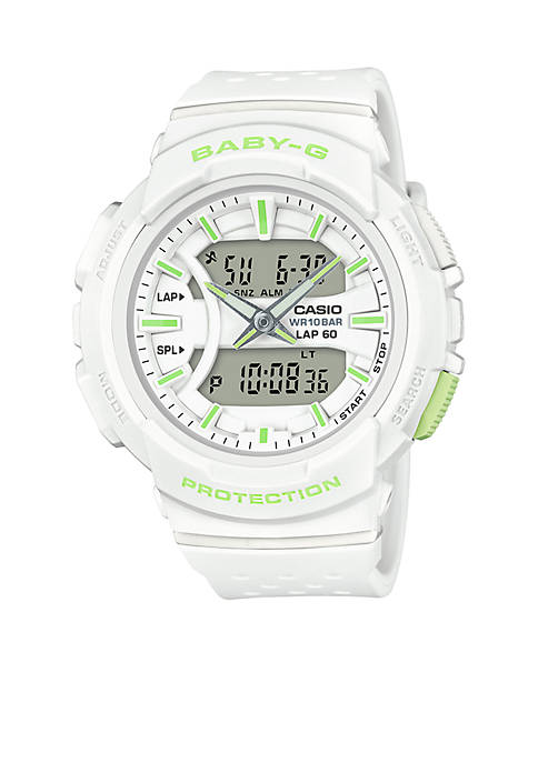 Womens White With Lime Green Accents Ana-Digi Sport