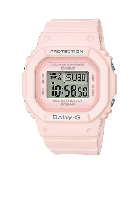 G-Shock Womens Pale Pink Square Digital Watch