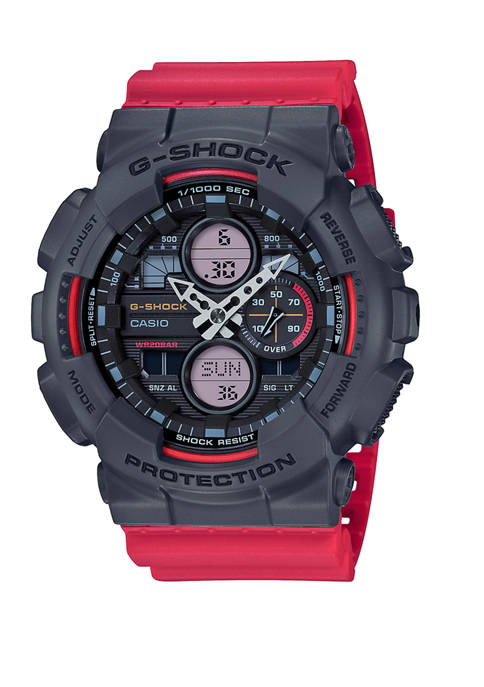 Black and Red Analog Digital Watch