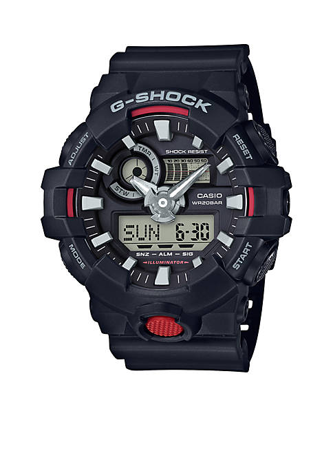 Mens Black Ana-Digi with Red Front Light Button Watch