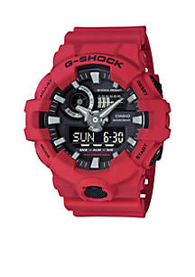 Men's Red Ana-Digi with Black Front Light Button Watch