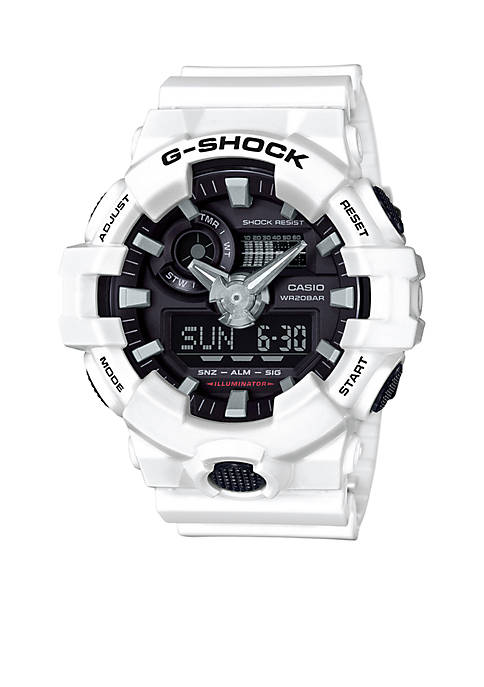 Mens White and Black Ana-Digi G-Shock Watch
