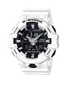 Men's White and Black Ana-Digi G-Shock Watch