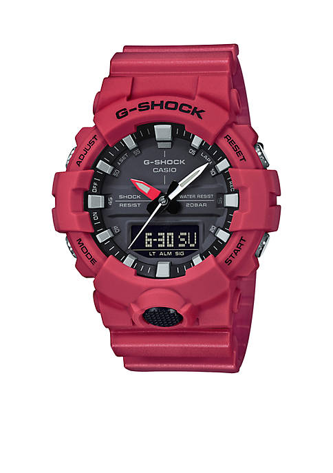 Mens Red Slim Ana-Digi with Black Front Light Button Watch