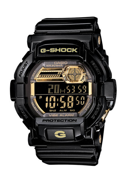 Mens Black and Gold Digital Watch