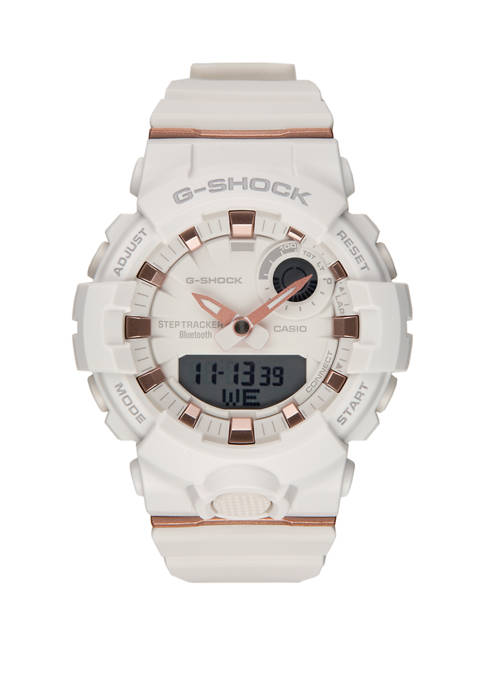 G-Shock Womens White and Rose Gold Trainer Watch