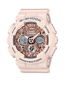 Women's Blush Band with Rose Gold-Tone Metallic Face Ana-Digi S-Series G-Shock Watch