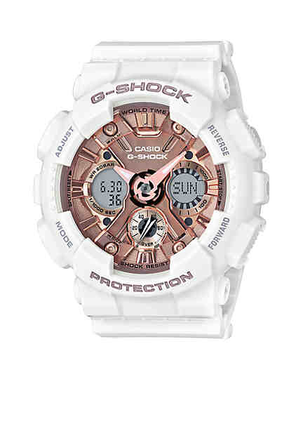 G shock watches for men women belk g shock womens white band with rose gold tone metallic s series g gumiabroncs Images