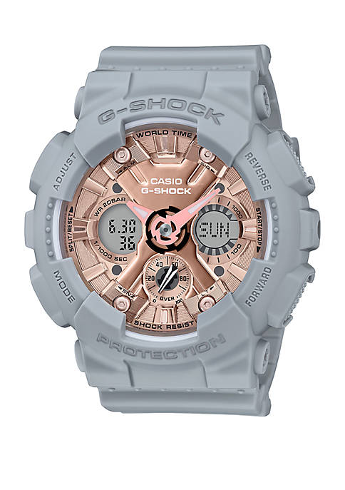 Gray Rose Gold Analog and Digital Watch
