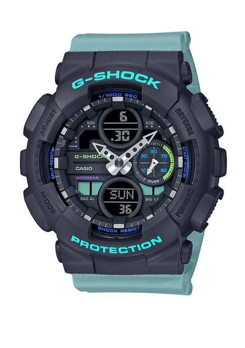 Mens Blue Band Analog Digital Watch