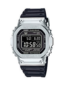 Silver Case With Black Square Dial Watch