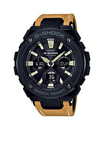 G-Steel Black Face Ana-Digi with Mustard Color Leather Band