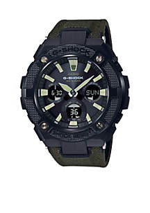 Casio G-Shock G-Steel Black Face Ana-Digi Watch With Olive Codura Tough Leather Band