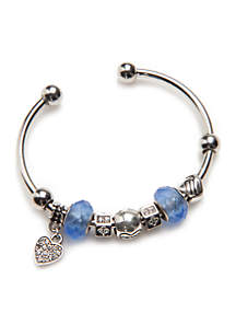 Silver-Tone Blue Heart Bangle