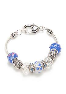 Silver-Tone Blue Bali Bead Bracelet