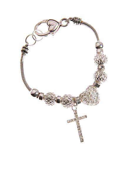 Kim Rogers Silver Textured Bead Heart Charm Bracelet