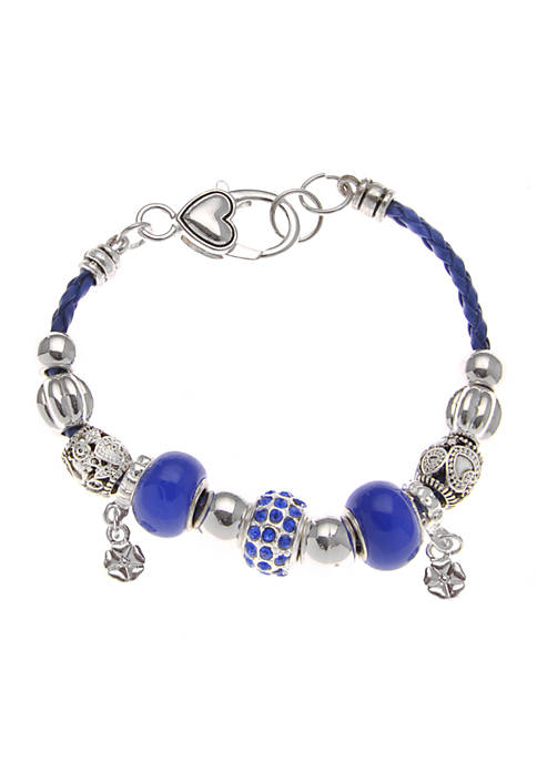 Kim Rogers Blue Charm Bracelet With Leather Strap