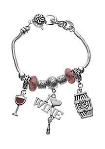 Silver-Tone Beaded Wine Charm Bracelet