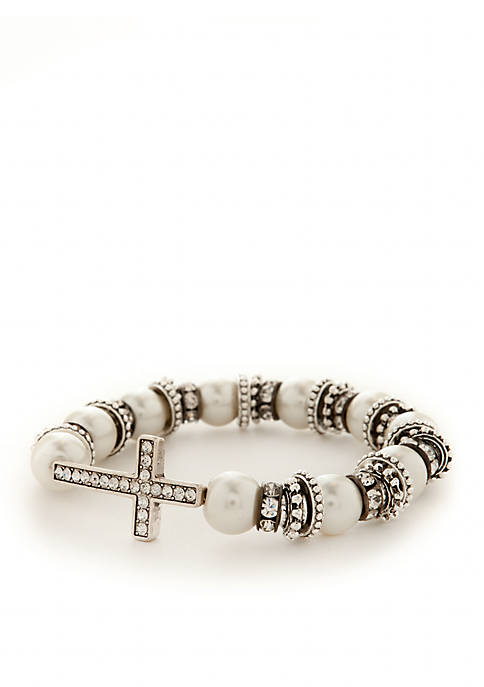 Kim Rogers® Silver-Tone and White Pearl Pave Cross