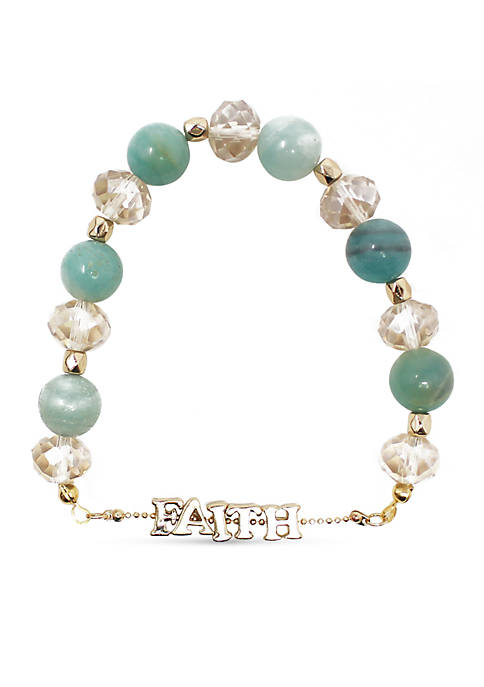 Kim Rogers® Gold-Tone Faith Stretch Bracelet