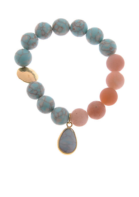 Kim Rogers® Gold-Tone Turquoise Agate Bead Stretch Boxed
