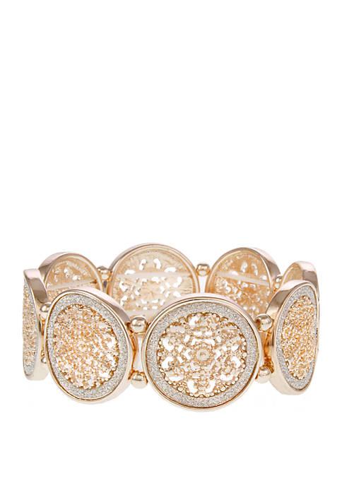 Filigree Stretch Bracelet with Glitter Accents