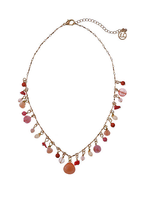 Gold Tone Collar Necklace with Glass Beads