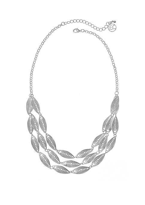 3 Row Textured Oval Filigree Necklace