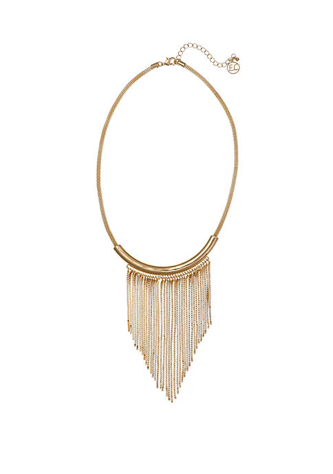 Erica Lyons Silver Tone Chain Fringe Necklace