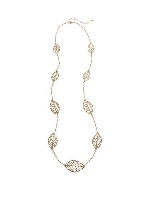Erica Lyons Gold Tone Long Necklace with Filigree