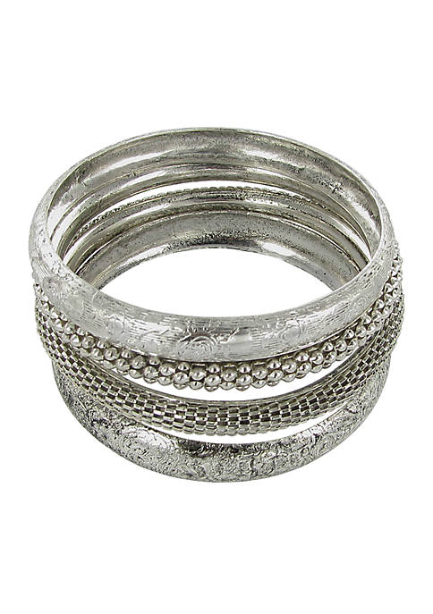 Erica Lyons Silver Tone Bangle Bracelet Set