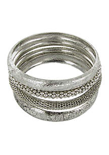 Silver-Tone Bangle Bracelet Set